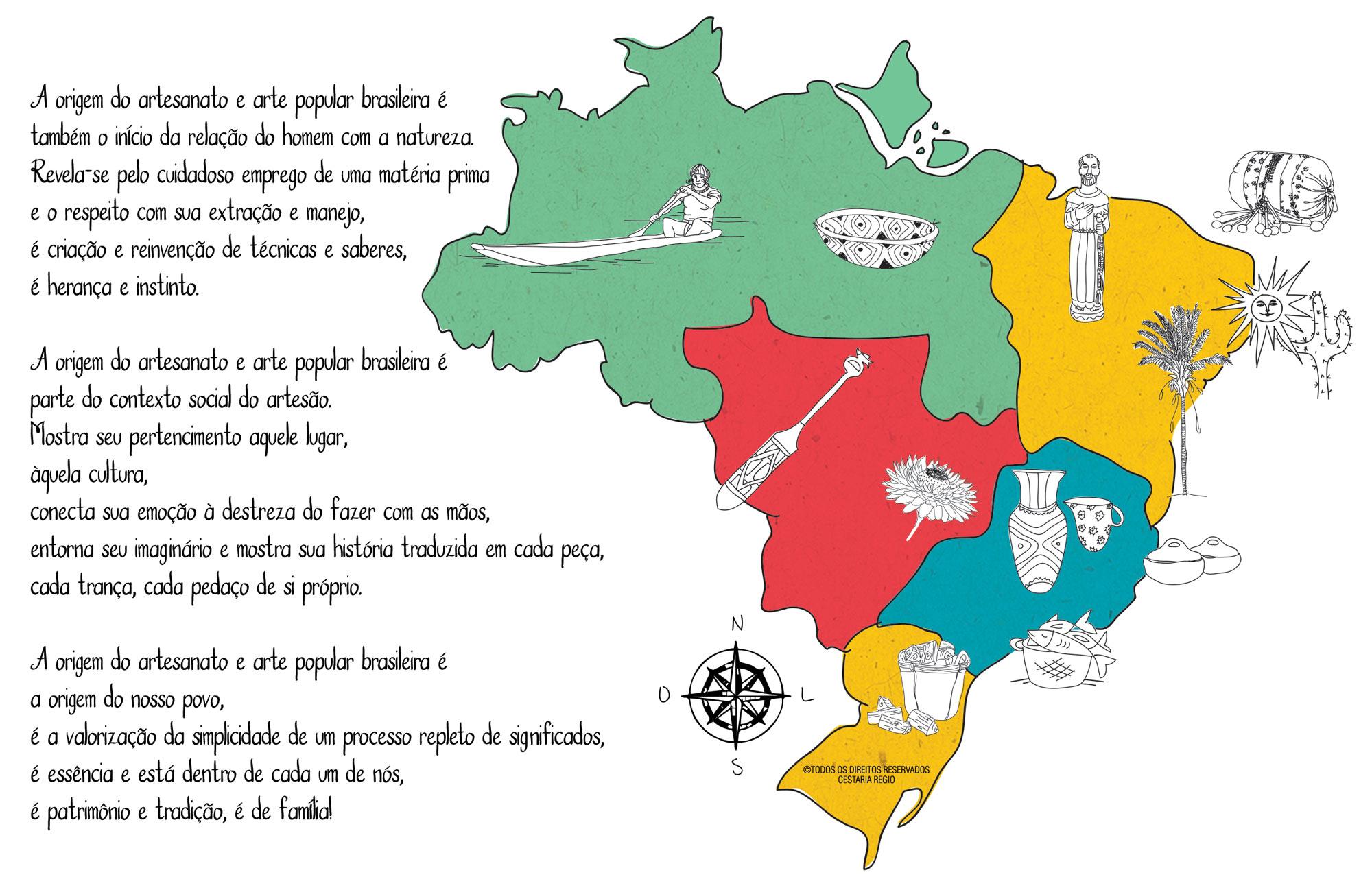A origem do artesanato e arte popular brasileira é também o início da relação do home com a natureza. Revela-se pelo cuidadoso emprego de uma matéria prima e o respeito com sua extração e manejo, é criação e reinvenção de técnicas e saberes, é herança e instinto. A origem do artesanato e arte popular brasileira é parte do contexto social do artesão. Mostra seu pertencimento aquele lugar, àquela cultura, conecta sua emoção à destreza do fazer com as mãos, entorna seu imaginário e mostra sua história traduzida em cada peça, cada trança, cada pedaço de si próprio.