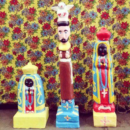 Santos de cedro pintado - Mestre Ribamar - Piauí - Entalhe de madeira - Cestarias Régio